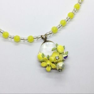 Glass Beaded Necklace Yellow Enameled Flowers